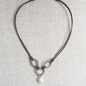 Silpada Brown Leather & Coin Pearl Necklace